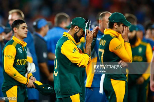 Imran Tahir of South Africa shows his dejection following the 2015 Cricket World Cup Semi Final match between New Zealand and South Africa at Eden...