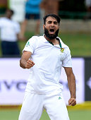Imran Tahir of South Africa traps Denesh Ramdin for lbw for 20 runs during day 4 of the 2nd Test match between South Africa and West Indies at St...