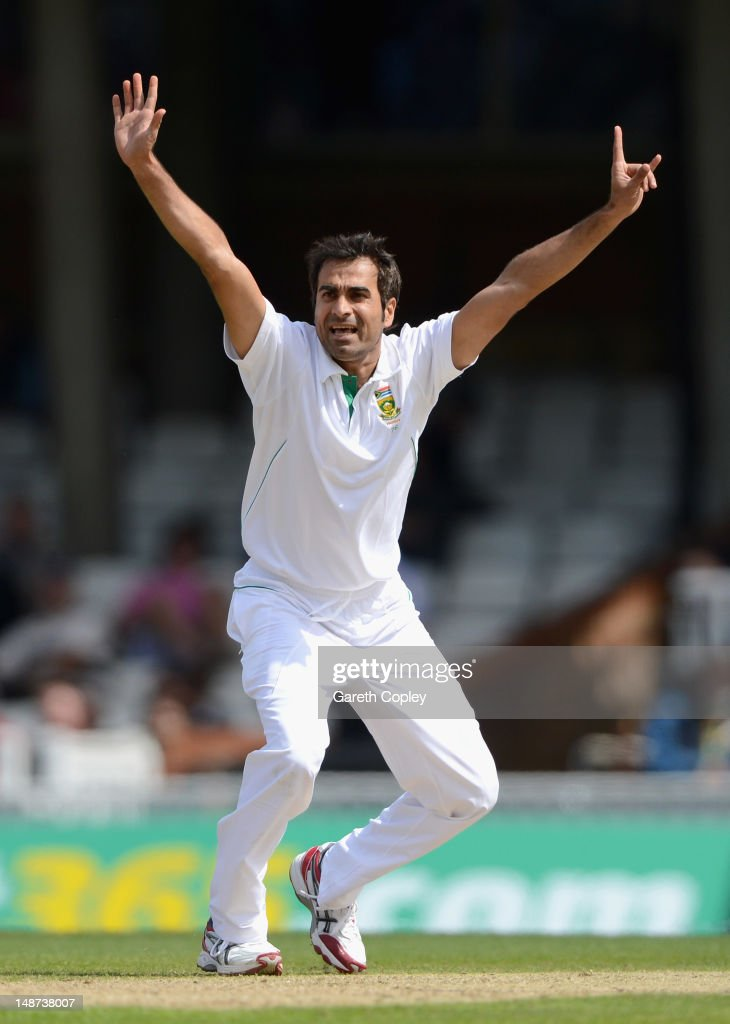 Imran Tahir of South Africa unsuccessfully appeals during day one of the 1st Investec Test match between England and South Africa at The Kia Oval on July 19, 2012 in London, England.