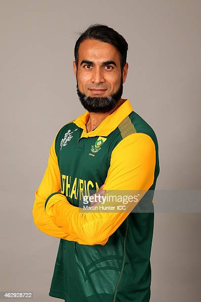Imran Tahir poses during the South Africa 2015 ICC Cricket World Cup Headshots Session at the Rydges Latimer on February 7 2015 in Christchurch New...