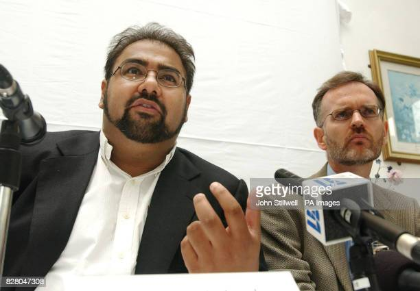 Imran Waheed the Media spokesman for Hizb utTahrir of Britain is joined by Jamal Harwood as he denounces Prime Minister Tony Blair's actions at a...