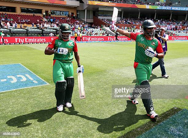 Imrul Kayes of Bangladesh and Tamim Iqbal of Bangladesh walk out to bat prior to the start of play during the 2015 ICC Cricket World Cup match...