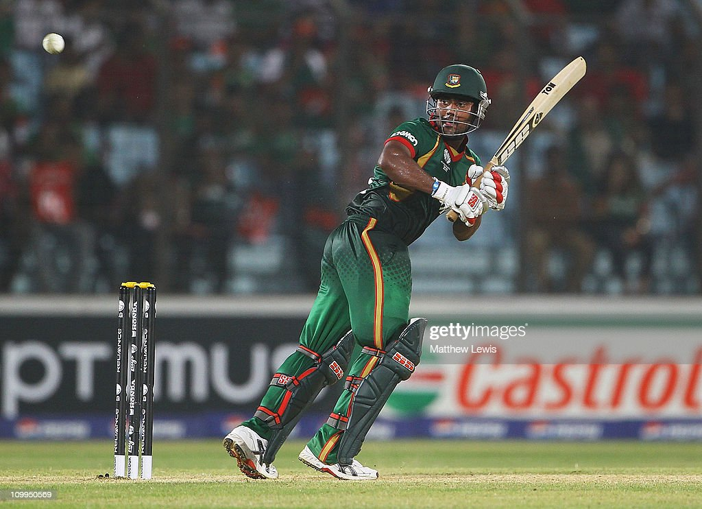 <a gi-track='captionPersonalityLinkClicked' href=/galleries/search?phrase=Imrul+Kayes&family=editorial&specificpeople=5565752 ng-click='$event.stopPropagation()'>Imrul Kayes</a> of Bangladesh edges the ball towards the boundary during the 2011 ICC World Cup Group B match between Bangladesh and England at Zohur Ahmed Chowdhury Stadium on March 11, 2011 in Chittagong, Bangladesh.