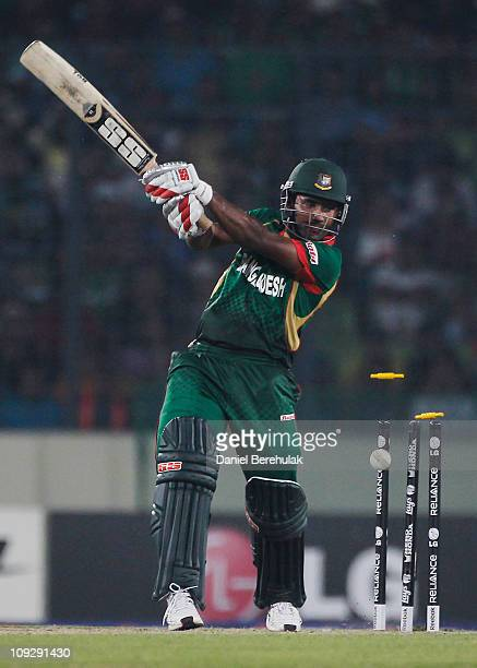 Imrul Kayes of Bangladesh is bowled by Munaf Patel of India during the opening game of the ICC Cricket World Cup between Bangladesh and India at the...