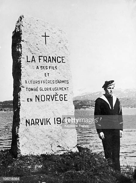 In 1946 A Commemorative Monument In Memory Of French Soldiers Who Died In The 1940 Battle Of Narvik Is Inaugurated In The Presence Of General...