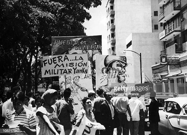 In 1960 Anti American Demonstration Of Cuban Comitee On Caracas Streets