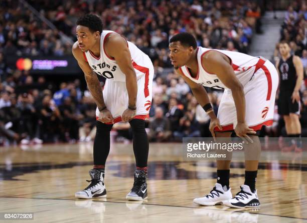TORONTO ON FEBRUARY 6 In 4th quarter action Toronto Raptors guard DeMar DeRozan and Toronto Raptors guard Kyle Lowry watch the Clippers take a foul...