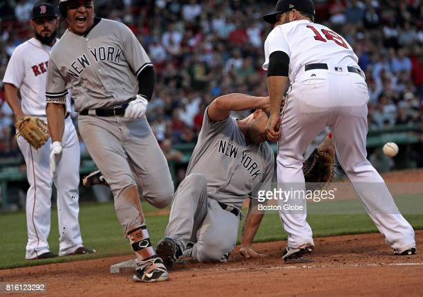 In a bizarre play at first base New York Yankees center fielder Jacoby Ellsbury and New York Yankees designated hitter Matt Holliday found themselves...