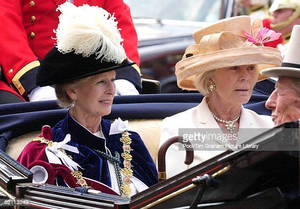 In A Black Velvet Hat With Ostrich Feather Princess Alexandra Clothed In The Heavy Traditional Robes Of The Most Noble Order Of The Garter Sits In An...