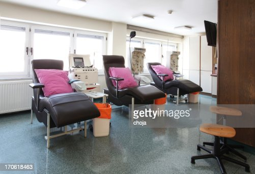 In a blood bank...chairs for blood donation