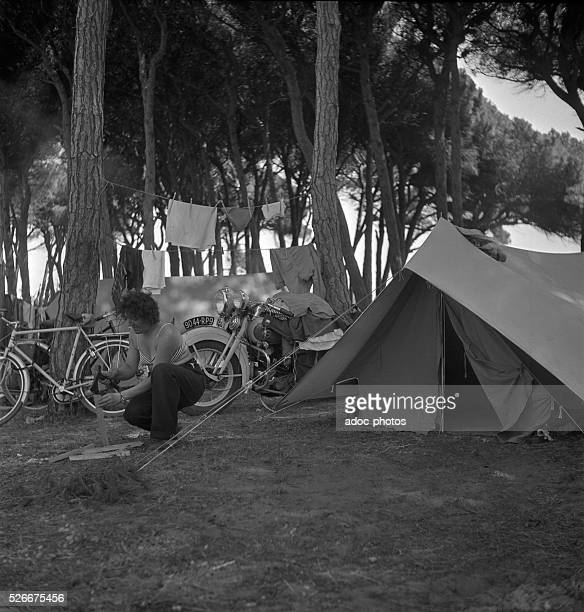 In a campsite on French Riviera In 1949