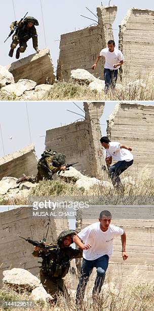 In a combo of three pictures taken on May 10 an Israeli soldier runs after a Palestinian stonethrower during a protest in AlKhader village near the...