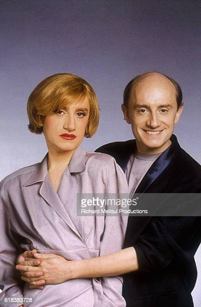 In a composite photo French actor Michel Blanc gives his crossdressing self a hug Blanc is promoting his 1986 film 'Tenue de Soiree' where he plays a...