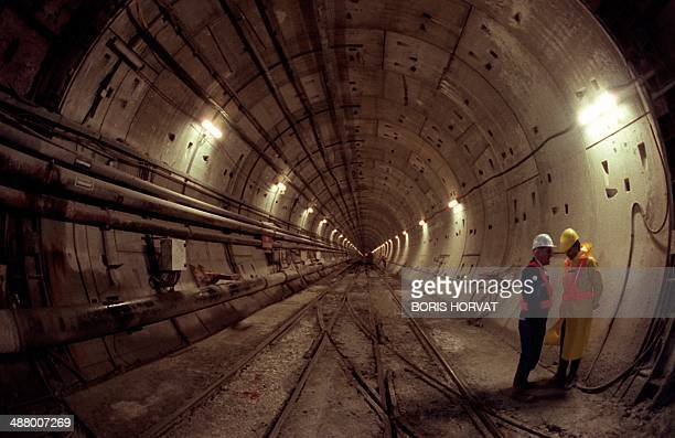 In a file picture taken on November 27 1990 Technicians work on the construction site of the Channel tunnel in Sangatte northern France Fearing an...