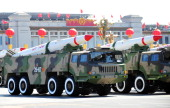In a file picture taken on October 1 2009 a China's military shows off their latest missiles during the National Day in Beijing China's defence...