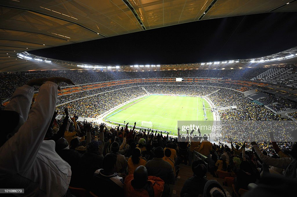In a general view of the Soccer City Stadium pitch and stands supporters ahead of the international friendly football match between South Africa and Colombia takes place, in Soweto, Johannesburg on May 27, 2010. The 2010 FIFA World Cup football championship is due to take place in South Africa from June 11 to July 11 of 2010.