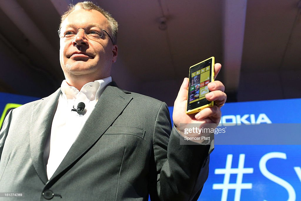 In a joint event with Microsoft, Nokia Chief Executive <a gi-track='captionPersonalityLinkClicked' href=/galleries/search?phrase=Stephen+Elop&family=editorial&specificpeople=7180953 ng-click='$event.stopPropagation()'>Stephen Elop</a> introduces the new Nokia Lumia 920 and 820 Windows smartphone on September 5, 2012 in New York City.The new Nokia phones are the first first smartphones built for Windows 8. Analysts see the new phones as Nokia's last chance to compete with fellow technology companies Apple and Samsung in the lucrative smartphone market.