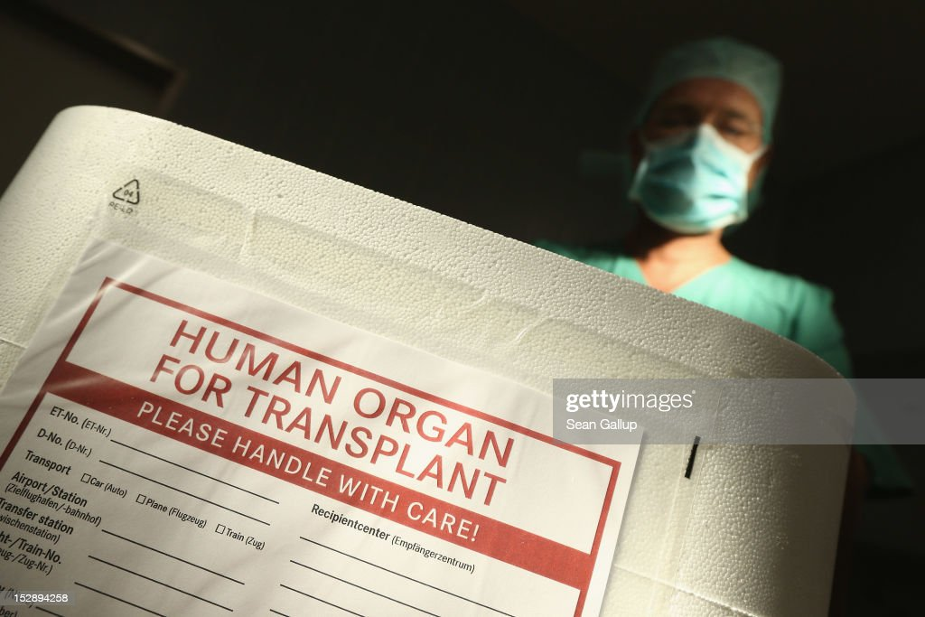 In a media event provided by the German Foundation for Organ Transplants (Deutsche Stiftung Organtransplantation) an employee wearing a surgical mask stands over an empty styrofoam box used for transporting human organs in an operation room at the Vivantes Neukoelln clinic on September 28, 2012 in Berlin, Germany. German politicians and health officials are debating the country's current system for matching doners with recipients following a scandal earlier in the year in which some patients were given preferential treatment at several hospitals. Vivantes clinics were not involved in the scandal.