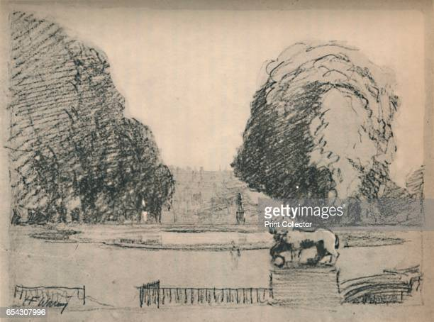 In a melancholy frame of old clipped trees c1927 From A Book About Paris by George and Pearl Adam [Jonathan Cape London 1927] Artist Henry Franks...