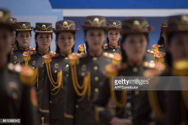 In a photo taken on September 21 2017 Korean People's Army musicians prepare to perform following the 20th ITF World Taekwondo Championships in...