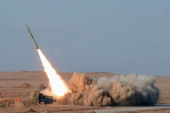 In a picture obtained from Iran's ISNA news agency on July 3 shows AN Iranian shortrange missile launched during the second day of military exercises...