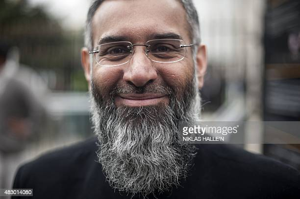 In a picture taken on April 3 2015 British muslim cleric Anjem Choudary poses for a photograph after attending a rally calling for muslims to refrain...