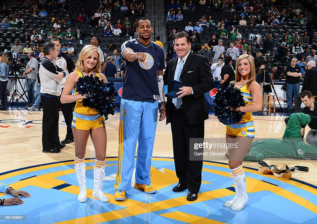 In a pregame ceremony, the Nuggets' <a gi-track='captionPersonalityLinkClicked' href=/galleries/search?phrase=Andre+Iguodala&family=editorial&specificpeople=201980 ng-click='$event.stopPropagation()'>Andre Iguodala</a> #9 was presented with his Olympic ring by USA Basketball executive director Jim Tooley on February 19, 2013 at the Pepsi Center in Denver, Colorado.