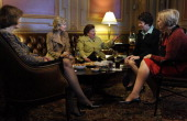 In a private Senator's Only room in the Capitol Senator Barbara Mikulski center is surrounded by her fellow women Senators Senators Lisa Murkowski...
