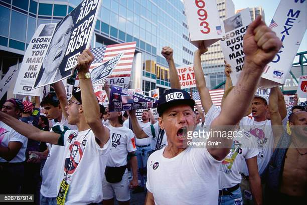 In a protest organized by ACT UP Gay rights demonstrators shout and carry posters outside the 1992 Republican National Convention
