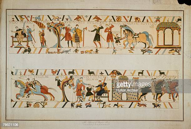 In a scene from the Bayeux Tapestry messengers inform William the Conqueror that the future King Harold II has been taken prisoner by Count Guy of...