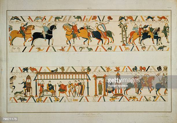 In a scene from the Bayeux Tapestry William the Conqueror rescues the future King Harold II from captivity in France and betrothes his daughter...