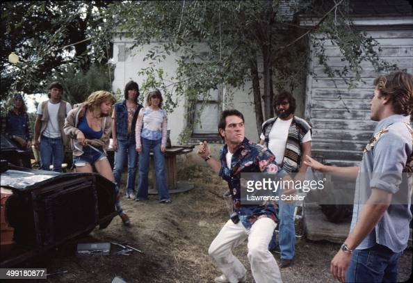 In a scene from the madefortelevision movie 'The Executioner's Song' American actor Tommy Lee Jones throws a punch Spanish Fork Utah 1981 Also...