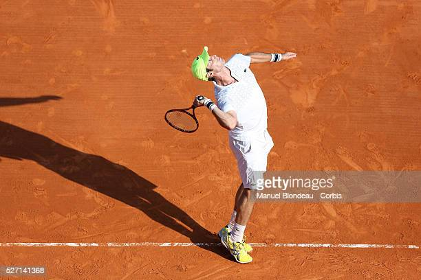 XXXX in action against XXX during day two of the ATP Monte Carlo Rolex Masters Tennis at MonteCarlo Sporting Club on April 14 2014 in MonteCarlo...