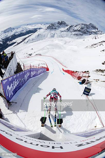 in action during Downhill Training on March 15 2016 in St Moritz Switzerland