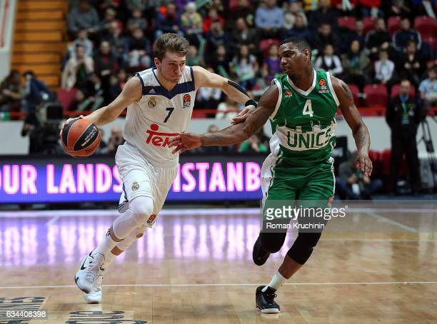 in action during the 2016/2017 Turkish Airlines EuroLeague Regular Season Round 22 game between Unics Kazan v Real Madrid at Basket Hall Kazan on...