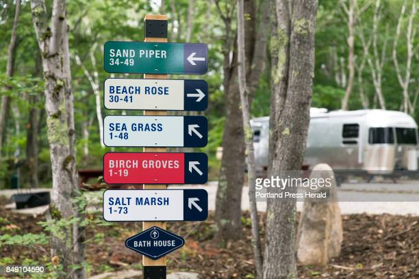 In addition to 'glamping' tents Sandy Pines Campground in Kennebunkport offers RV sites primitive campsites and even sells tiny houses