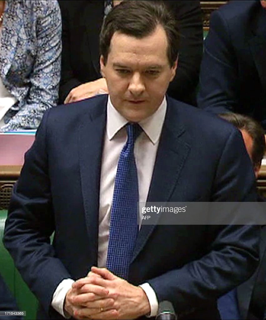 In an image grab from pooled video footage taken on June 26, 2013 British Chancellor of the Exchequer George Osborne delivers the spending review statement at the House of Commons in London. Osborne unveiled plans to further slash British public spending as the government clings to austerity, despite a pledge to also boost investment of railways and roads. AFP PHOTO/POOL == RESTRICTED TO EDITORIAL USE - MANDATORY CREDIT ' AFP PHOTO / POOL ' - NO