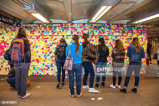 In an orderly and peaceful manner New Yorkers are expressing their postelection feelings in a very creative way A couple of walls at Union Square...