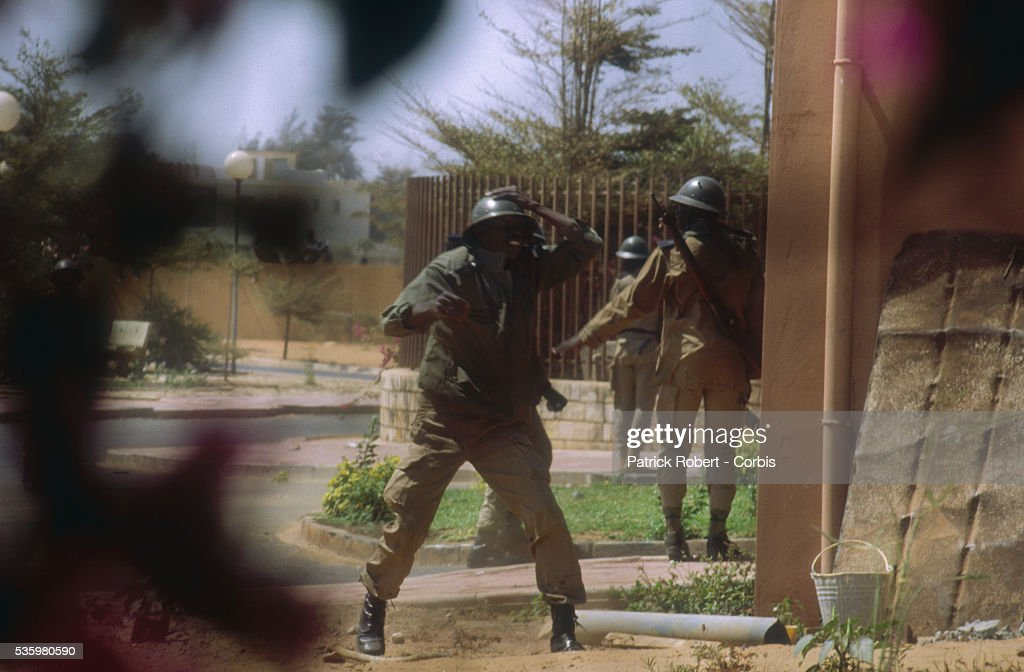 Soldiers on Guard During Race Riots in Senegal
