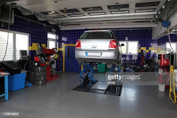 In auto repair shop....changing tires before winter