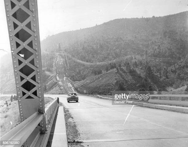 In background is a steep inclined road leading off the main highway which drives of runaway trucks may use as a means of making emergency stops Photo...