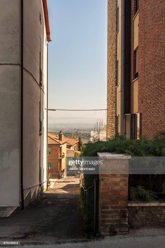 In between rural buildings : Stock-Foto