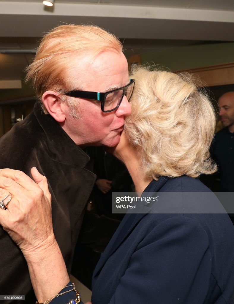 In breakfast DJ Chris Evans greets Camilla, Duchess of Cornwall as she joins the '500 Word' judging panel, a creative writing competition, at BBC Radio 2 Studios on May 4, 2017 in London, England.
