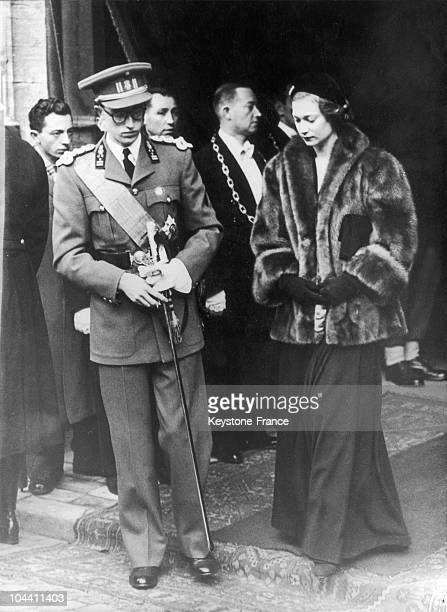 In Brussels on November 15 Prince BAUDOIN of Belgium and his sister Princess JOSEPHINECHARLOTTE leave the Cathedral SaintMicheletGudule where a...
