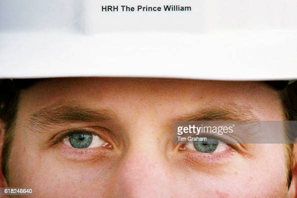 In builder's helmet with his name on closeup portrait of Prince William as he visits BAE Systems Surface Fleet Solutions in Scotstoun