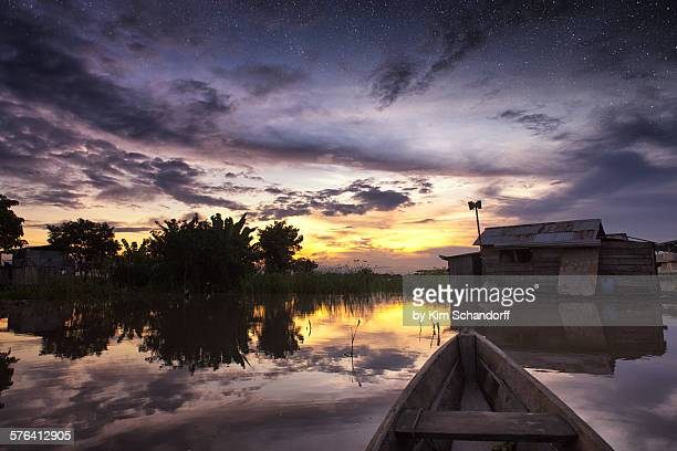 In canoe during sunset in Colombia