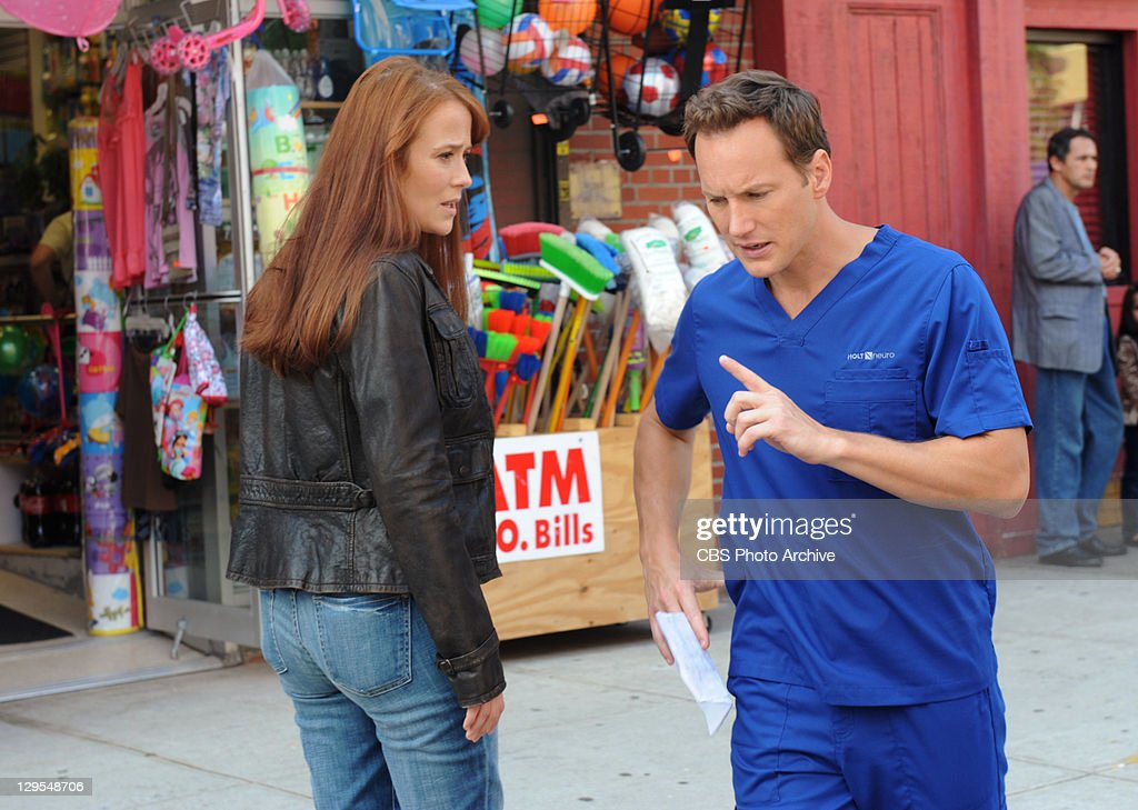 In Case of Discomfort -- Dr. Michael Holt (Patrick Wilson) and Dr.Anna Paul (Jennifer Ehle) outside of the clinic, on A GIFTED MAN, Friday, Oct 7 (8:00-9:00 PM, ET/PT) on the CBS Television Network