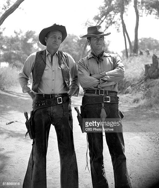 In character photographs of Eric Fleming as Gil Favor and Clint Eastwood as Rowdy Yates for the CBS Television western Rawhide Image dated June 22...