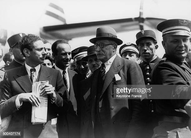 In charge of negotiating the French second world war debt to the USA Leon Blum is back in France welcomed by Andre Le Troquer and Gaston Defferre...