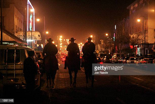 In Ciudad Juarez's attempt to clean up the city a troop of mounted Mexican police patrols its tourist and bar area February 20 2000 On weekends six...